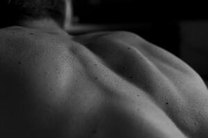 A photo of shoulder blade muscles